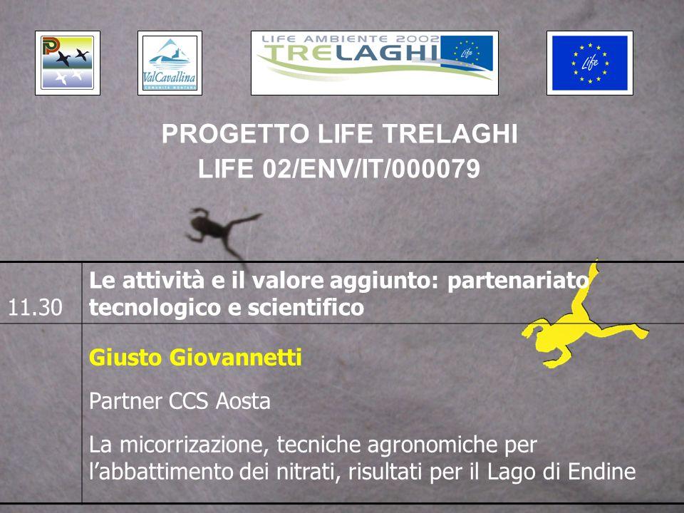 11.30 Le attività e il valore aggiunto: partenariato tecnologico e scientifico Giusto Giovannetti Partner CCS Aosta La micorrizazione, tecniche agronomiche per labbattimento dei nitrati, risultati per il Lago di Endine PROGETTO LIFE TRELAGHI LIFE 02/ENV/IT/000079