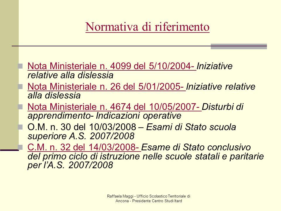 Raffaela Maggi - Ufficio Scolastico Territoriale di Ancona - Presidente Centro Studi Itard Normativa di riferimento Nota Ministeriale n. 4099 del 5/10