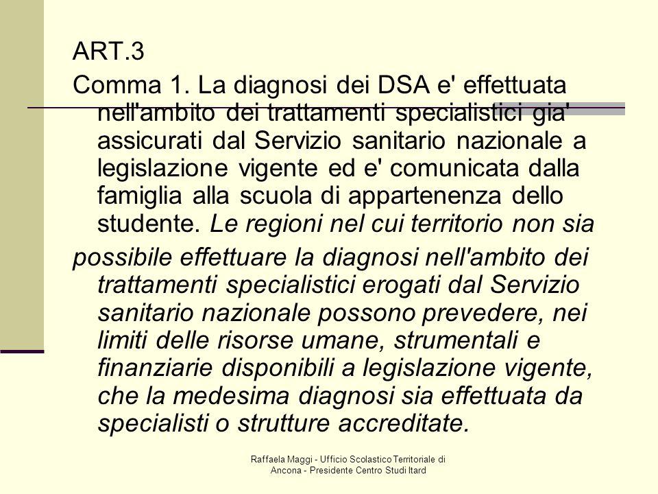 Raffaela Maggi - Ufficio Scolastico Territoriale di Ancona - Presidente Centro Studi Itard ART.3 Comma 1. La diagnosi dei DSA e' effettuata nell'ambit