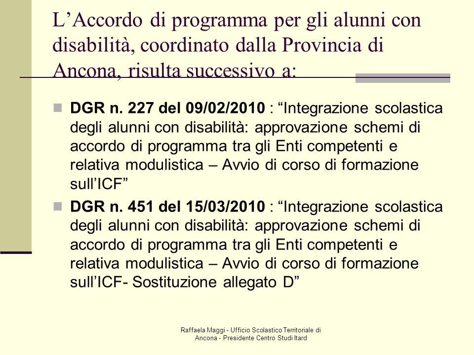 Raffaela Maggi - Ufficio Scolastico Territoriale di Ancona - Presidente Centro Studi Itard LAccordo di programma per gli alunni con disabilità, coordi