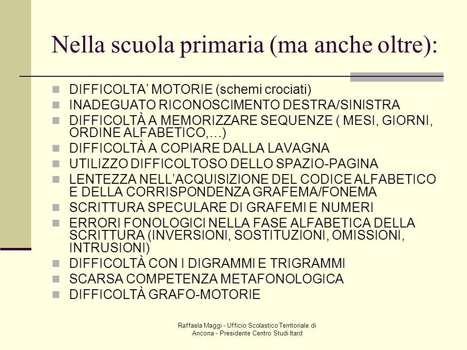 Raffaela Maggi - Ufficio Scolastico Territoriale di Ancona - Presidente Centro Studi Itard Nella scuola primaria (ma anche oltre): DIFFICOLTA MOTORIE
