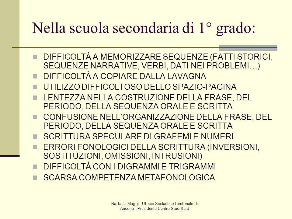 Raffaela Maggi - Ufficio Scolastico Territoriale di Ancona - Presidente Centro Studi Itard Nella scuola secondaria di 1° grado: DIFFICOLTÀ A MEMORIZZA