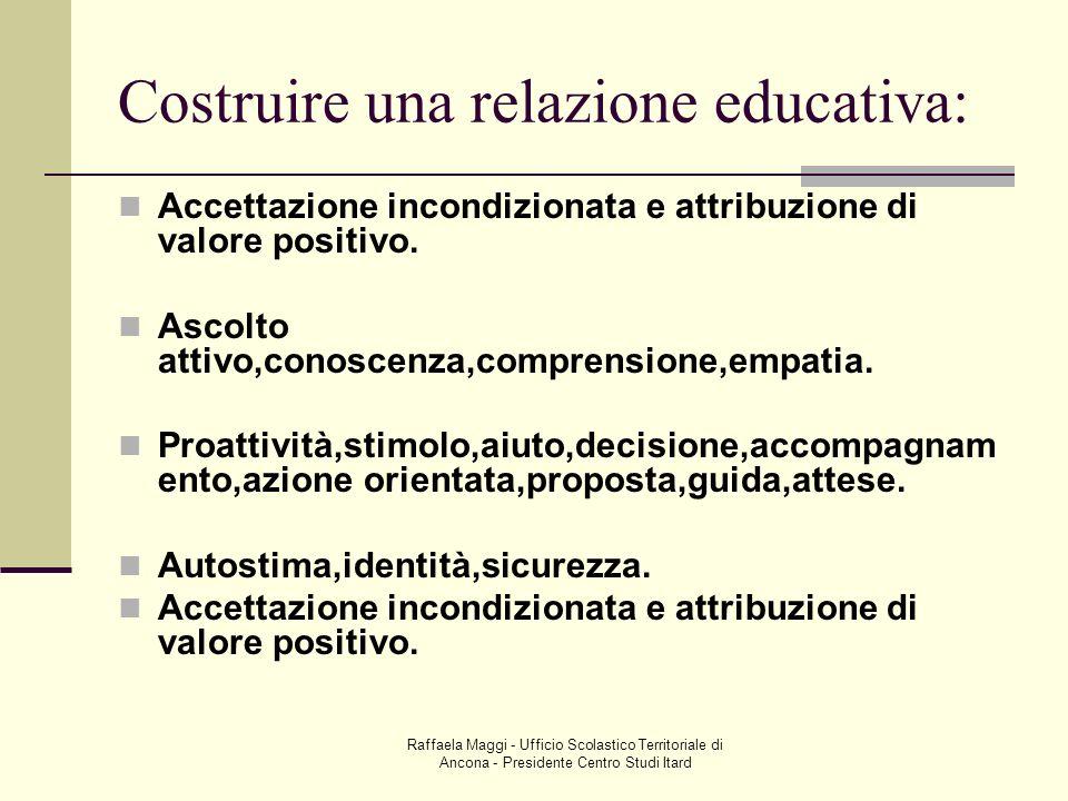 Raffaela Maggi - Ufficio Scolastico Territoriale di Ancona - Presidente Centro Studi Itard Costruire una relazione educativa: Accettazione incondizion