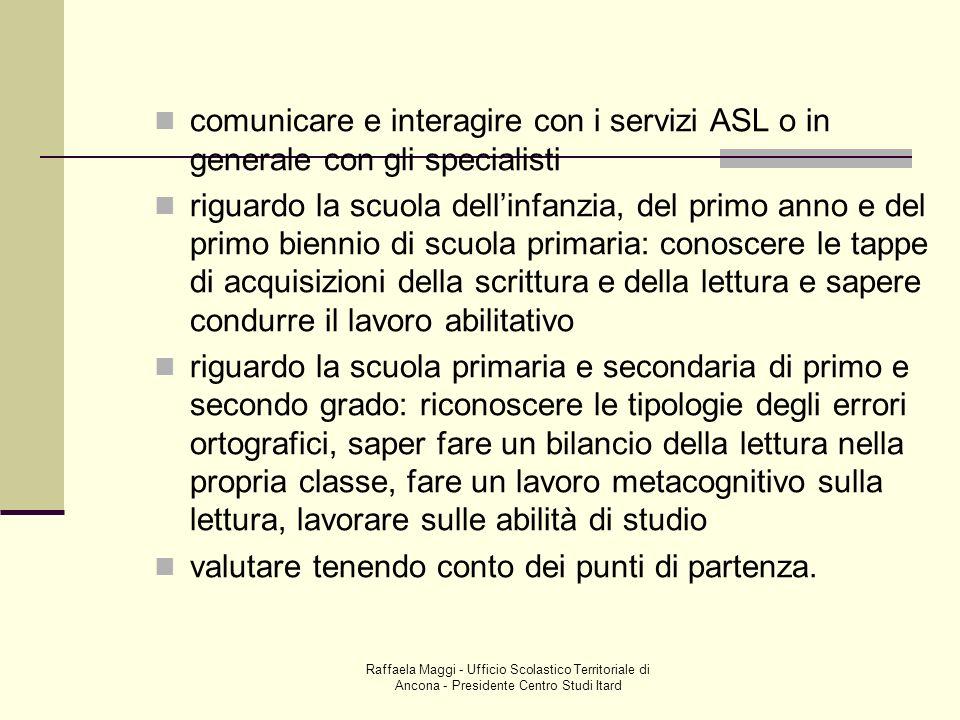 Raffaela Maggi - Ufficio Scolastico Territoriale di Ancona - Presidente Centro Studi Itard comunicare e interagire con i servizi ASL o in generale con