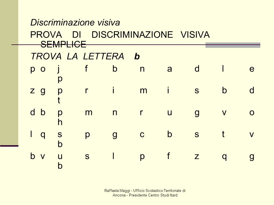 Discriminazione visiva PROVA DI DISCRIMINAZIONE VISIVA SEMPLICE TROVA LA LETTERA b pojfbnadle p zgprimisbd t dbpmnrugvo h lqspgcbstv b bvuslpfzqg b