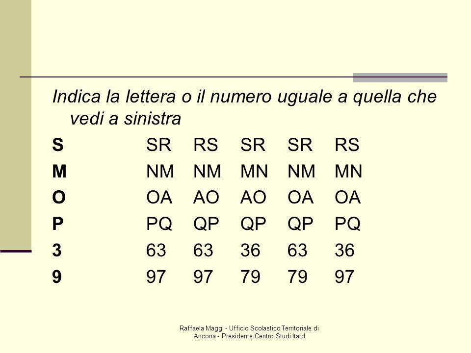 Raffaela Maggi - Ufficio Scolastico Territoriale di Ancona - Presidente Centro Studi Itard Indica la lettera o il numero uguale a quella che vedi a si