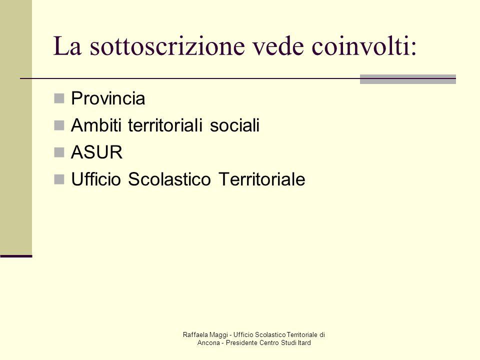 Raffaela Maggi - Ufficio Scolastico Territoriale di Ancona - Presidente Centro Studi Itard La sottoscrizione vede coinvolti: Provincia Ambiti territor