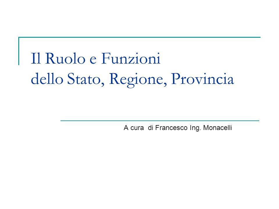 Il Ruolo e Funzioni dello Stato, Regione, Provincia A cura di Francesco Ing. Monacelli
