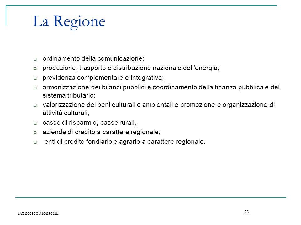 Francesco Monacelli 23 La Regione ordinamento della comunicazione; produzione, trasporto e distribuzione nazionale dell'energia; previdenza complement