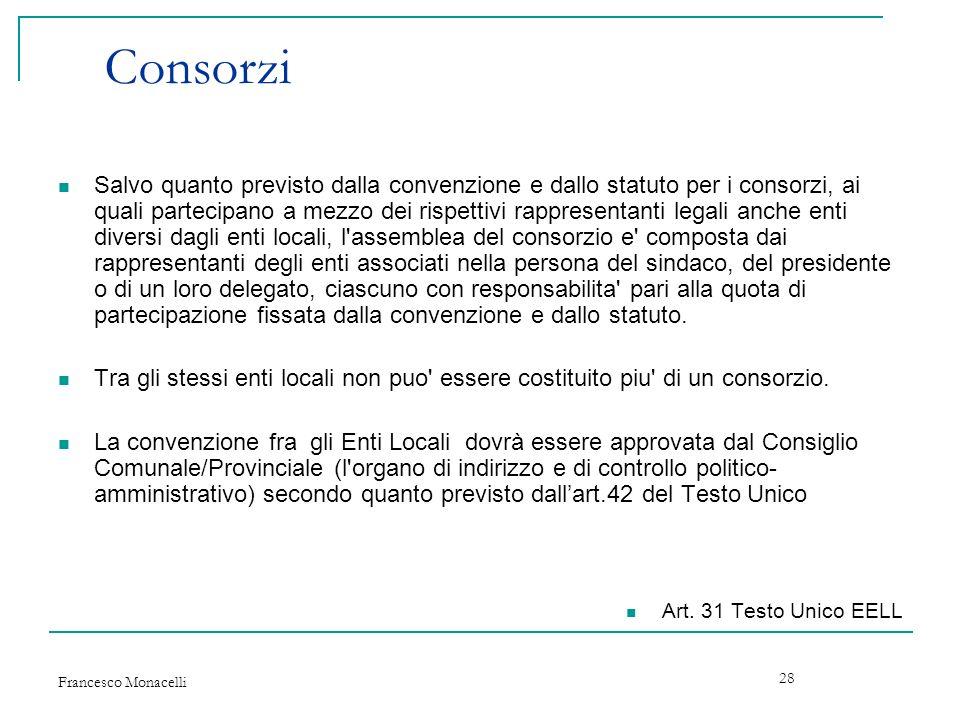 Francesco Monacelli 28 Consorzi Salvo quanto previsto dalla convenzione e dallo statuto per i consorzi, ai quali partecipano a mezzo dei rispettivi ra