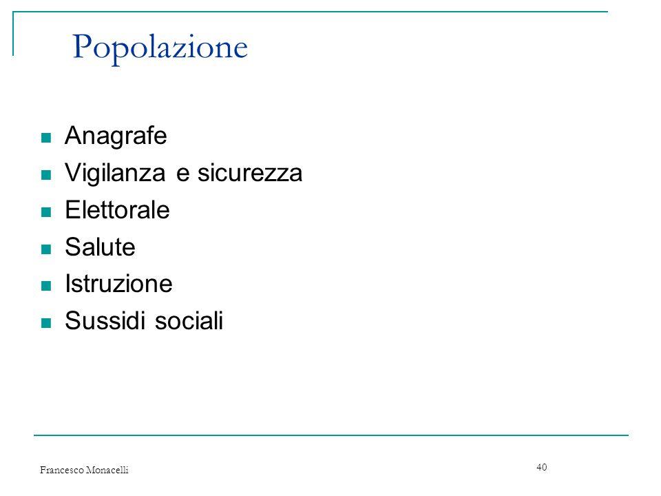 Francesco Monacelli 40 Popolazione Anagrafe Vigilanza e sicurezza Elettorale Salute Istruzione Sussidi sociali