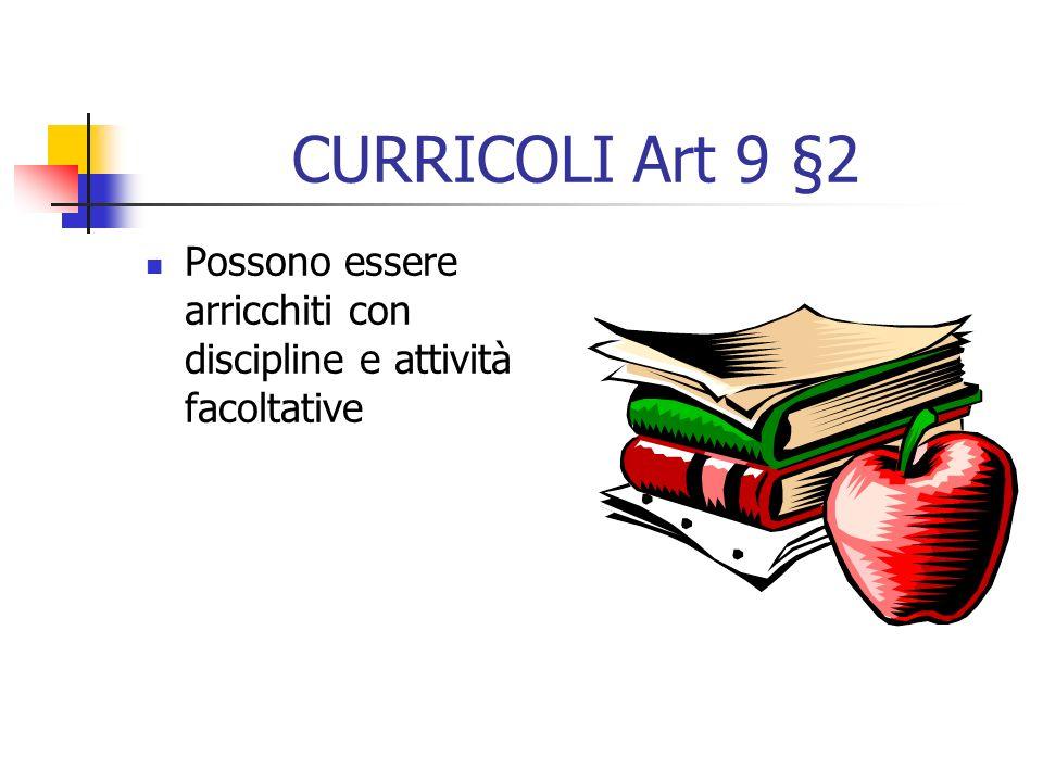 CURRICOLI Art 8 §4: tenere conto delle diverse esigenze formative degli alunni §4: garantire efficaci azioni di continuità ed orientamento §5: Personalizzare in relazione ad azioni, progetti ed accordi internazionali