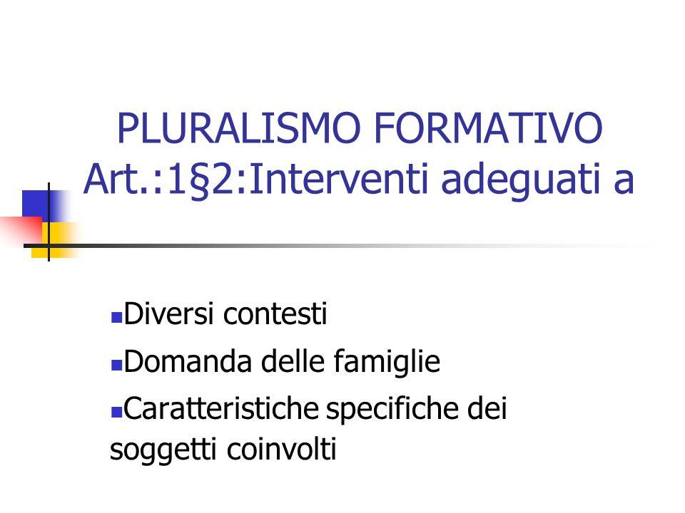 PLURALISMO FORMATIVO Art.:1§2:Interventi adeguati a Diversi contesti Domanda delle famiglie Caratteristiche specifiche dei soggetti coinvolti