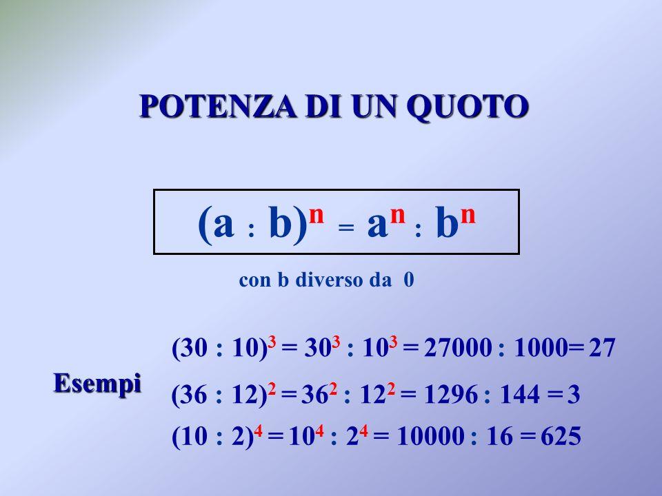 POTENZA DI UN QUOTO Esempi (30 : 10) 3 = 30 3 : 10 3 = 27000 : 1000= 27 (36 : 12) 2 = 36 2 : 12 2 = 1296 : 144 = 3 (10 : 2) 4 = 10 4 : 2 4 = 10000 : 16 = 625 (a : b) n = a n : b n con b diverso da 0