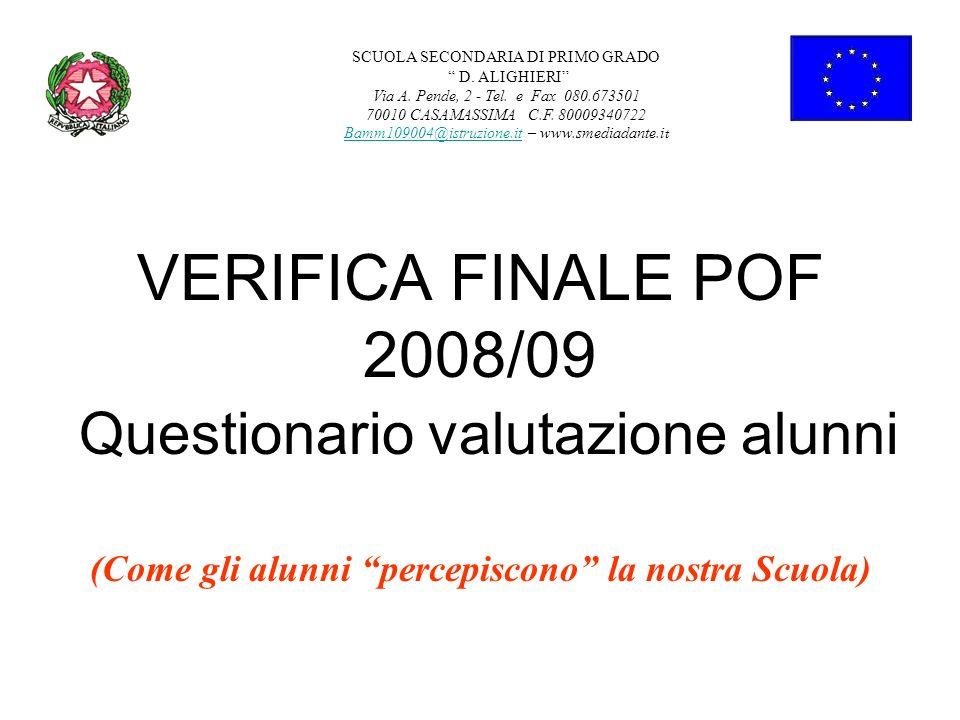 VERIFICA FINALE POF 2008/09 Questionario valutazione alunni (Come gli alunni percepiscono la nostra Scuola) SCUOLA SECONDARIA DI PRIMO GRADO D. ALIGHI