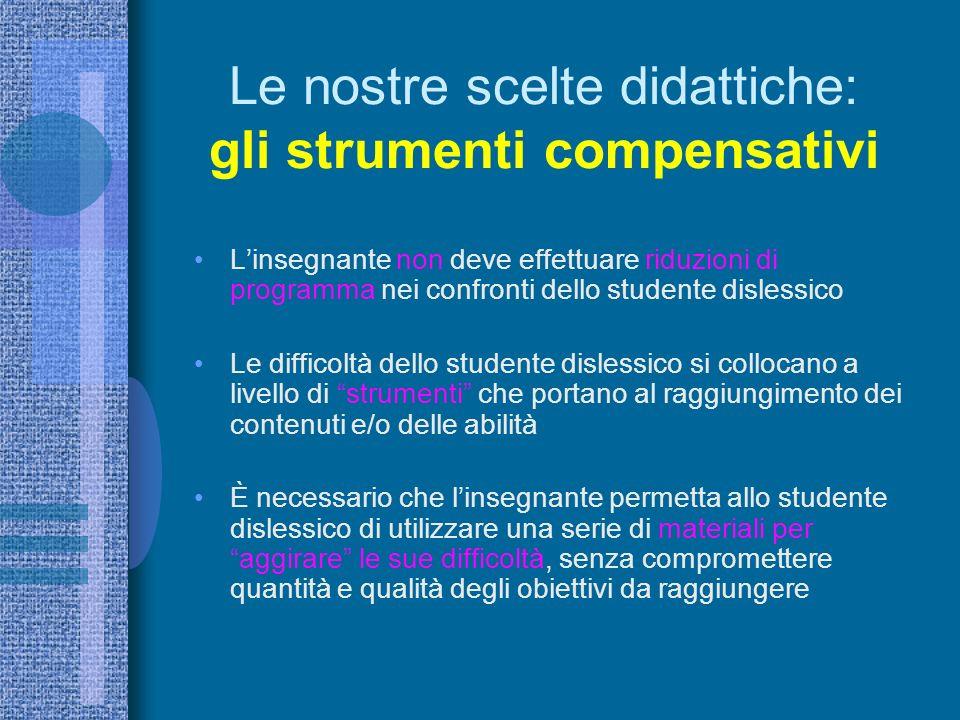 Le nostre scelte didattiche: gli strumenti compensativi Linsegnante non deve effettuare riduzioni di programma nei confronti dello studente dislessico