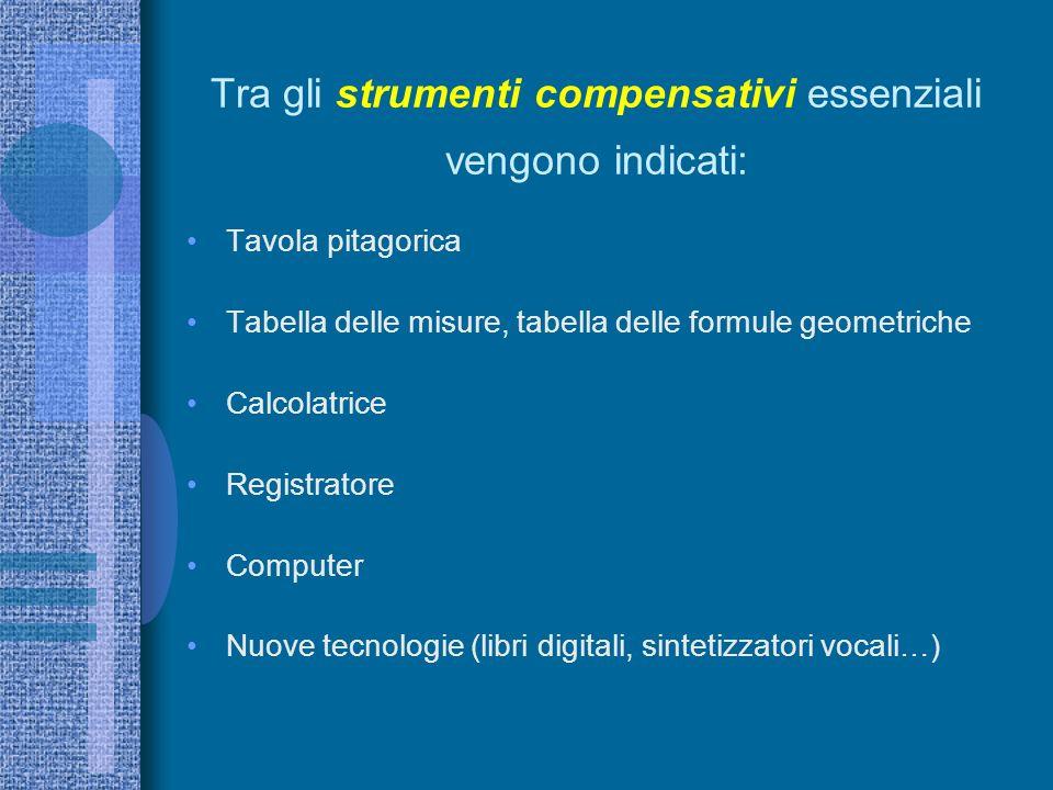 Tra gli strumenti compensativi essenziali vengono indicati: Tavola pitagorica Tabella delle misure, tabella delle formule geometriche Calcolatrice Registratore Computer Nuove tecnologie (libri digitali, sintetizzatori vocali…)
