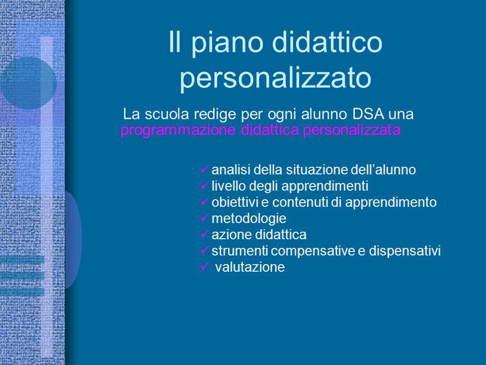 Il piano didattico personalizzato La scuola redige per ogni alunno DSA una programmazione didattica personalizzata analisi della situazione dellalunno