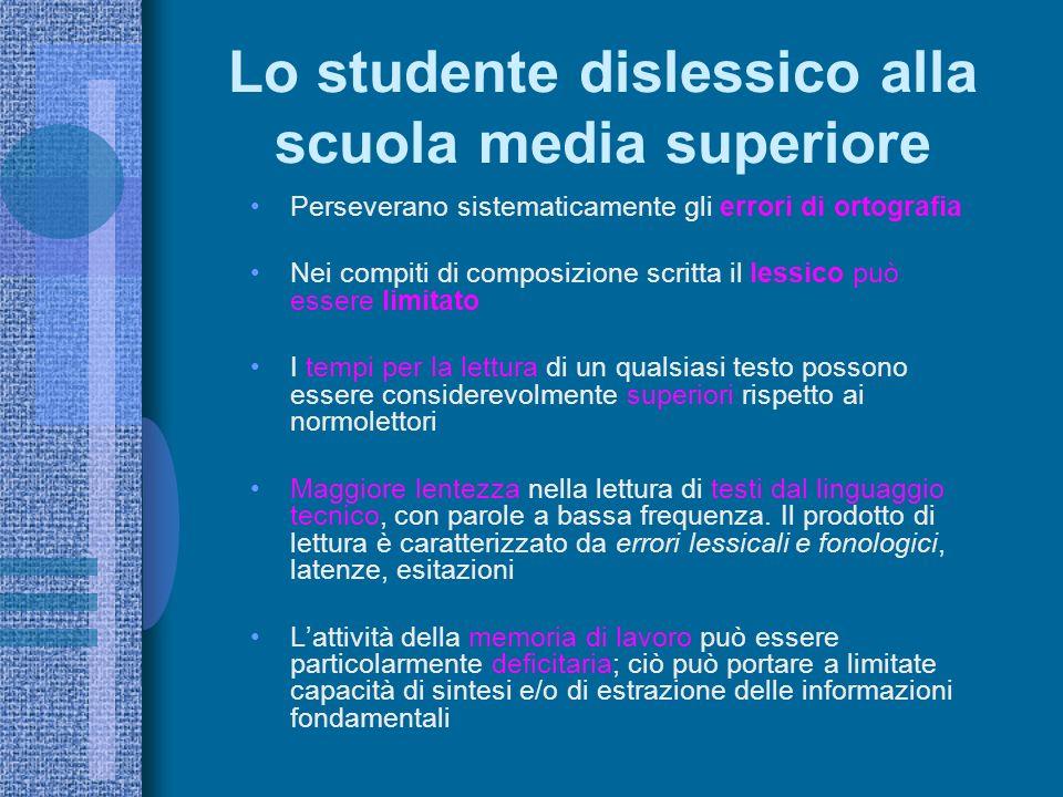Lo studente dislessico alla scuola media superiore Perseverano sistematicamente gli errori di ortografia Nei compiti di composizione scritta il lessic
