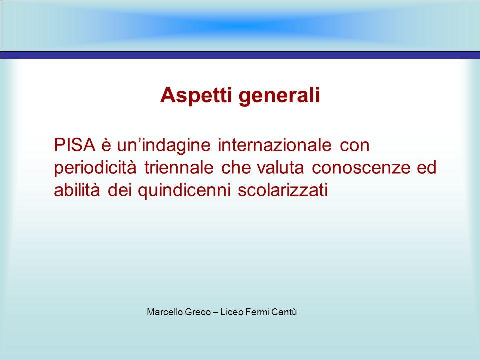 Aspetti generali PISA è unindagine internazionale con periodicità triennale che valuta conoscenze ed abilità dei quindicenni scolarizzati Marcello Gre