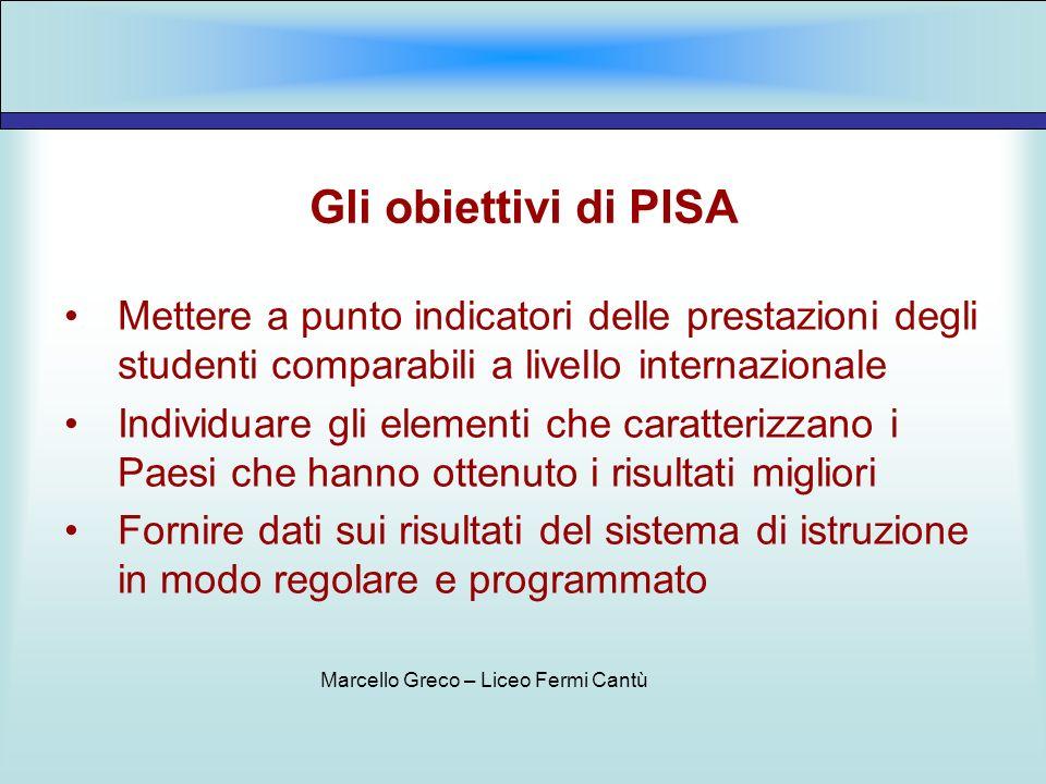 I partecipanti A PISA 2003 hanno partecipato 41 Paesi, tra i quali 30 Paesi dellOCSE per un totale di 275.000 studenti In Italia hanno partecipato 407 scuole con un totale di oltre 11.000 studenti Marcello Greco – Liceo Fermi Cantù
