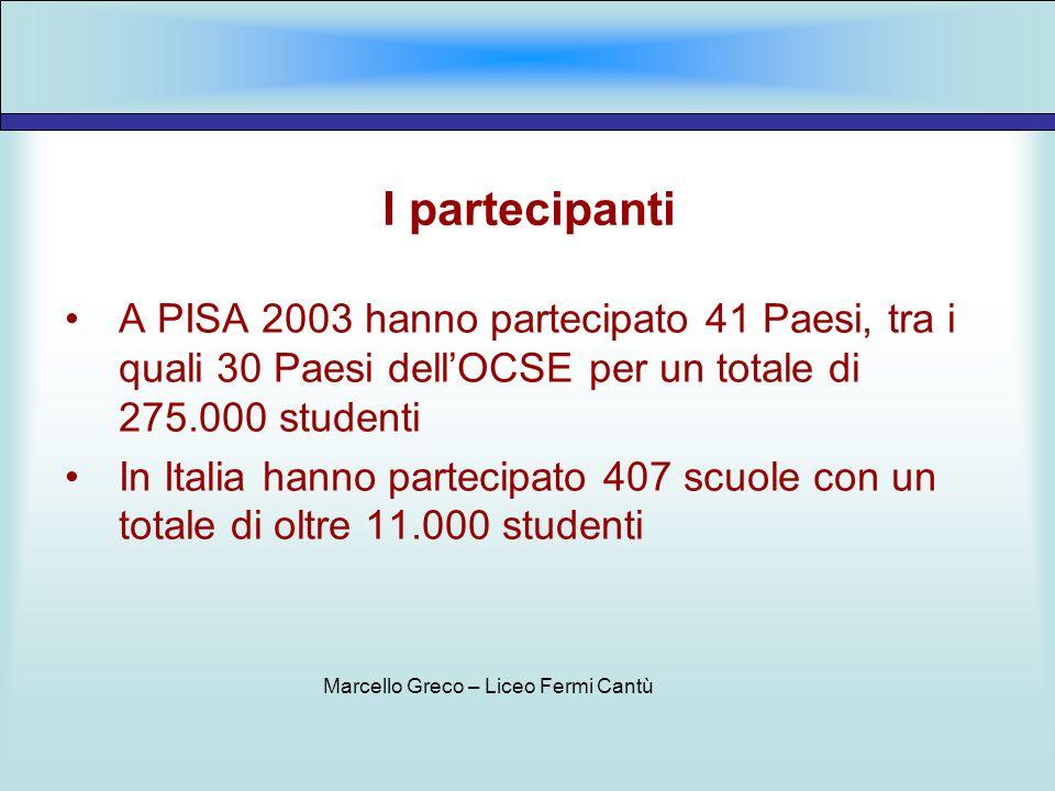 I partecipanti A PISA 2003 hanno partecipato 41 Paesi, tra i quali 30 Paesi dellOCSE per un totale di 275.000 studenti In Italia hanno partecipato 407