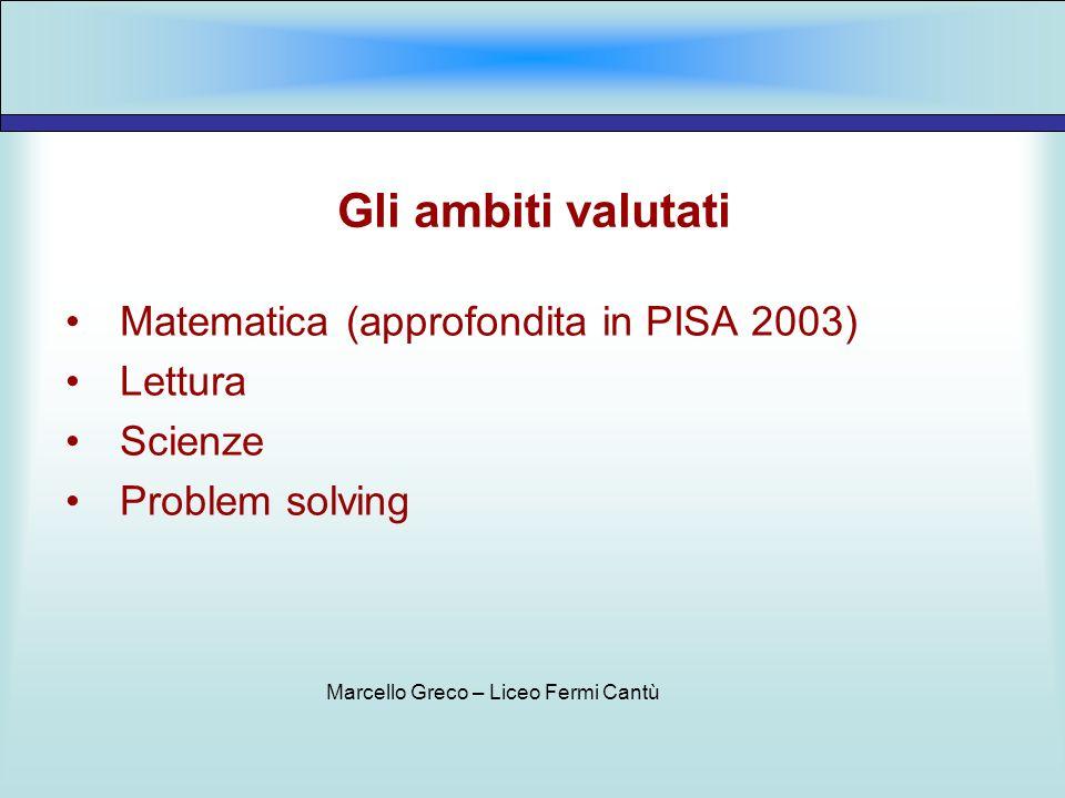 Gli ambiti valutati Matematica (approfondita in PISA 2003) Lettura Scienze Problem solving Marcello Greco – Liceo Fermi Cantù