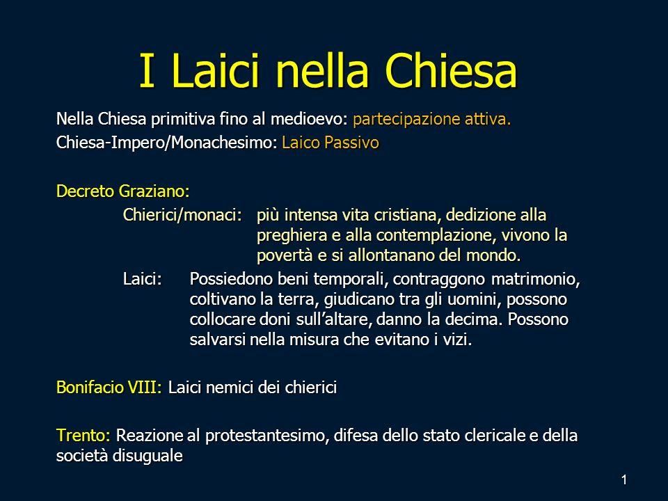 CIC-1917: Il laico non è chierico ne religioso Concilio Vaticano II: Riscoperta del Fedele Cristiano; Laico attivo nella Chiesa.