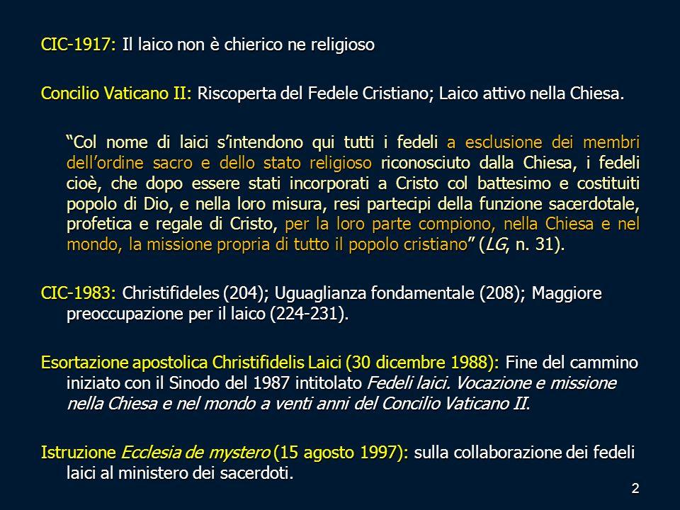 CIC-1917: Il laico non è chierico ne religioso Concilio Vaticano II: Riscoperta del Fedele Cristiano; Laico attivo nella Chiesa. Col nome di laici sin