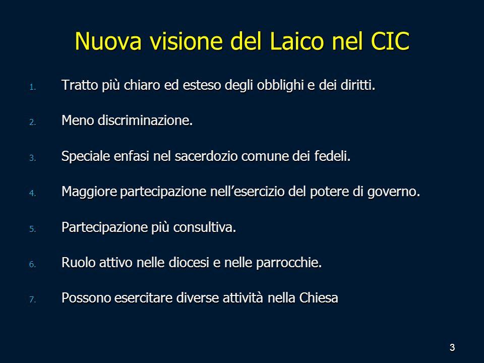 Nuova visione del Laico nel CIC 1. Tratto più chiaro ed esteso degli obblighi e dei diritti. 2. Meno discriminazione. 3. Speciale enfasi nel sacerdozi