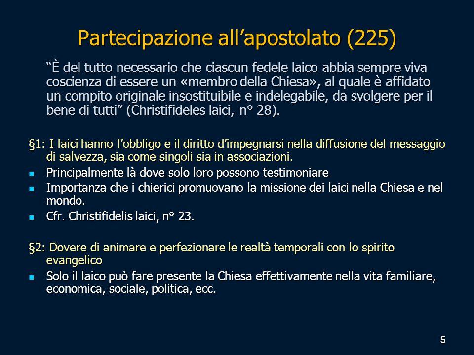 Partecipazione allapostolato (225) È del tutto necessario che ciascun fedele laico abbia sempre viva coscienza di essere un «membro della Chiesa», al