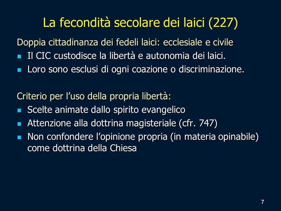 La fecondità secolare dei laici (227) Doppia cittadinanza dei fedeli laici: ecclesiale e civile Il CIC custodisce la libertà e autonomia dei laici. Il