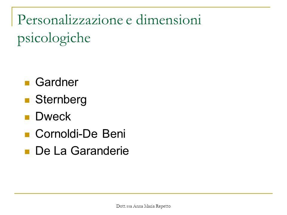 Dott.ssa Anna Maria Repetto Personalizzazione e dimensioni psicologiche Gardner Sternberg Dweck Cornoldi-De Beni De La Garanderie