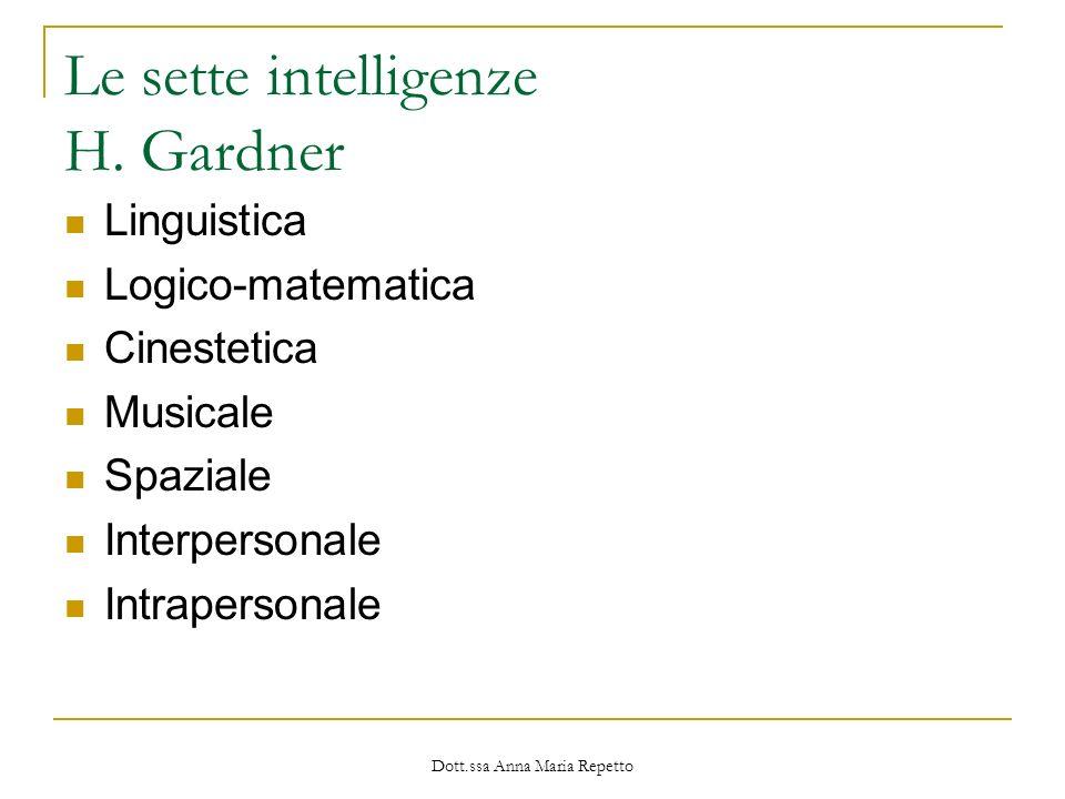 Dott.ssa Anna Maria Repetto Le sette intelligenze H. Gardner Linguistica Logico-matematica Cinestetica Musicale Spaziale Interpersonale Intrapersonale