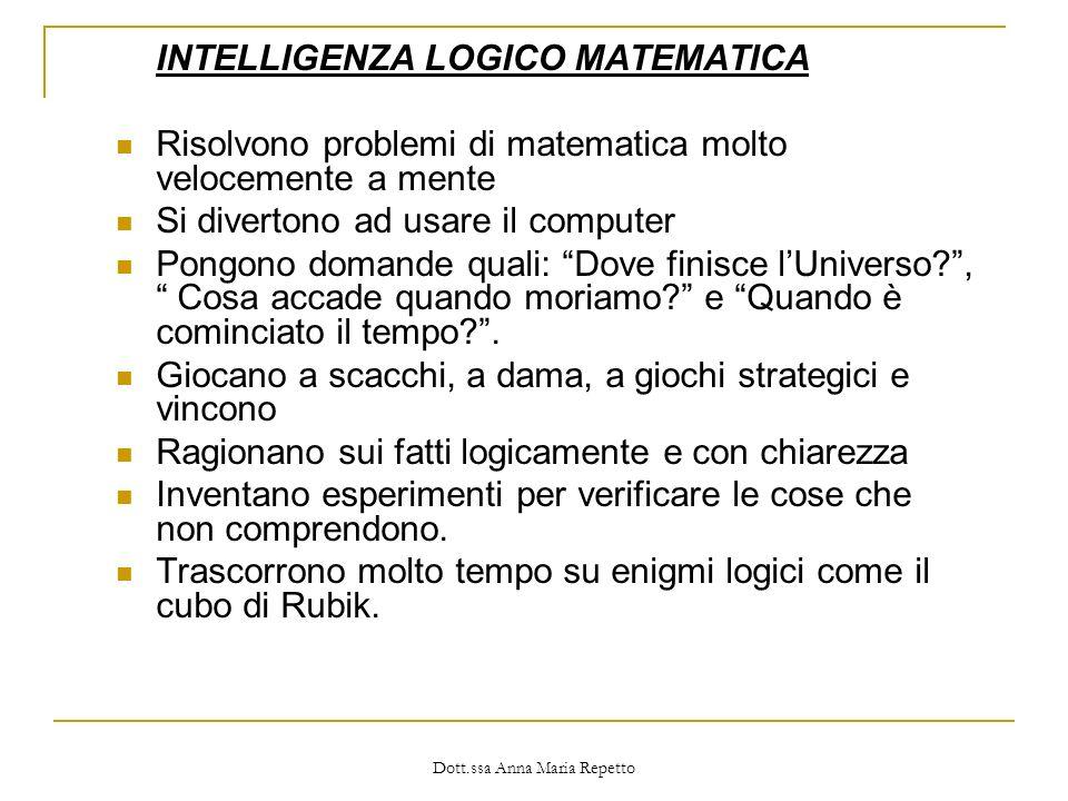 Dott.ssa Anna Maria Repetto INTELLIGENZA LOGICO MATEMATICA Risolvono problemi di matematica molto velocemente a mente Si divertono ad usare il compute