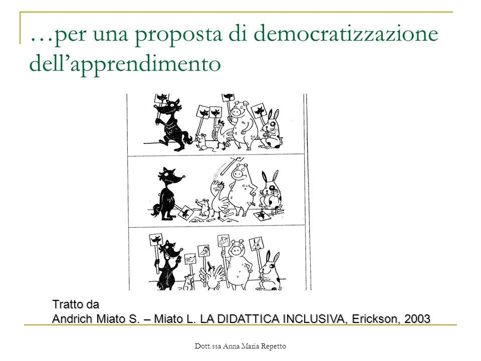Dott.ssa Anna Maria Repetto …per una proposta di democratizzazione dellapprendimento Tratto da Andrich Miato S. – Miato L. LA DIDATTICA INCLUSIVA, Eri