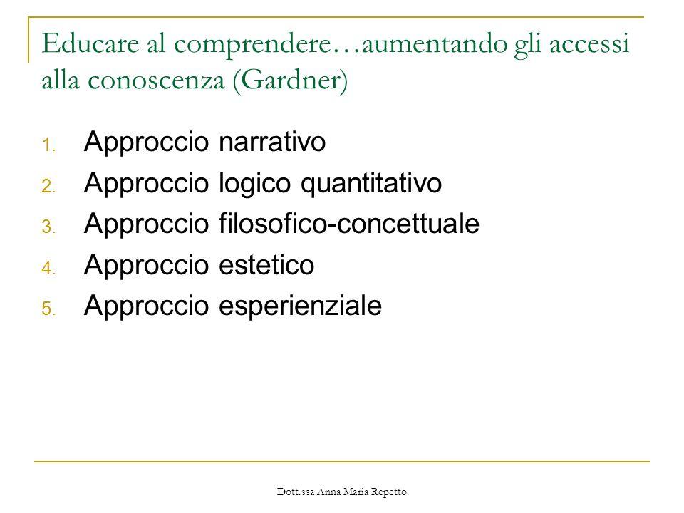 Dott.ssa Anna Maria Repetto Educare al comprendere…aumentando gli accessi alla conoscenza (Gardner) 1. Approccio narrativo 2. Approccio logico quantit