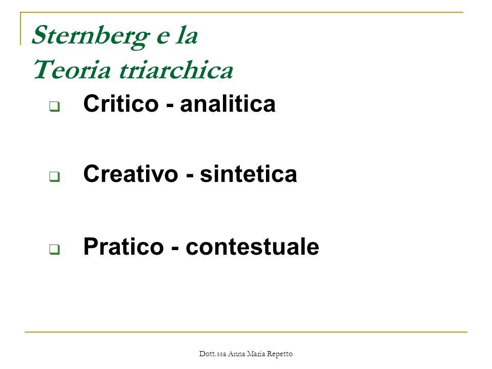 Dott.ssa Anna Maria Repetto Sternberg e la Teoria triarchica Critico - analitica Creativo - sintetica Pratico - contestuale