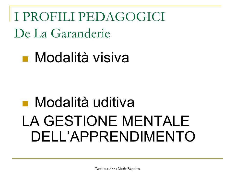Dott.ssa Anna Maria Repetto I PROFILI PEDAGOGICI De La Garanderie Modalità visiva Modalità uditiva LA GESTIONE MENTALE DELLAPPRENDIMENTO