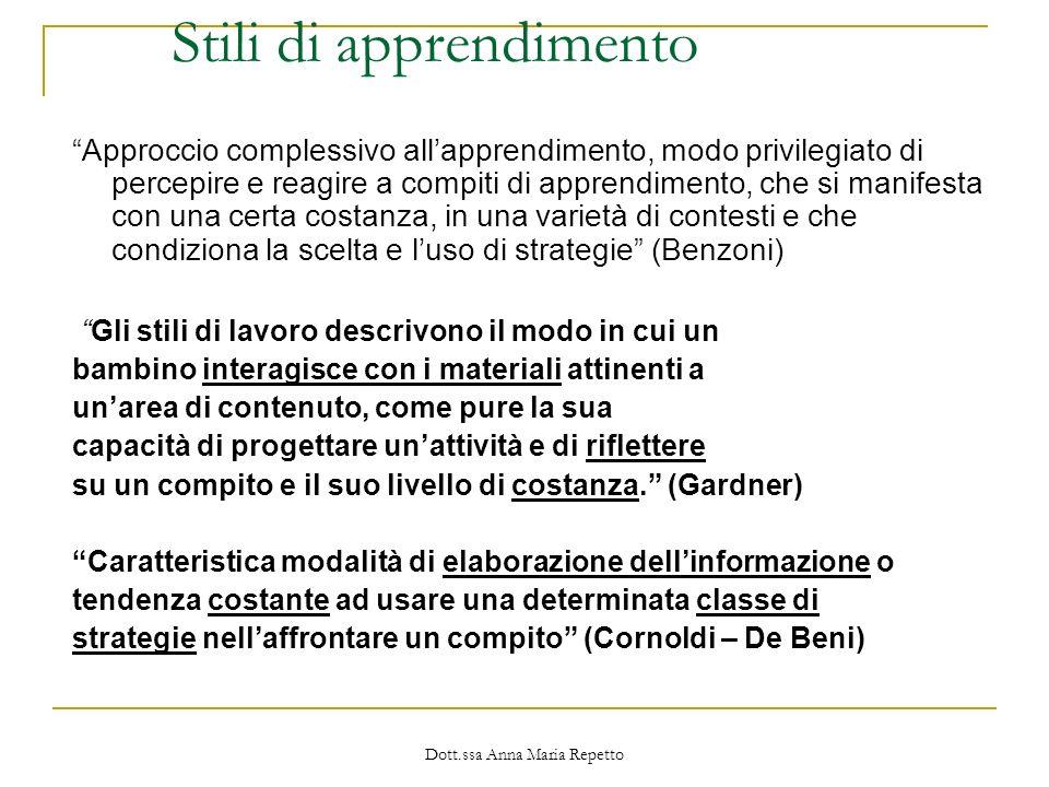 Dott.ssa Anna Maria Repetto Stili di apprendimento Approccio complessivo allapprendimento, modo privilegiato di percepire e reagire a compiti di appre