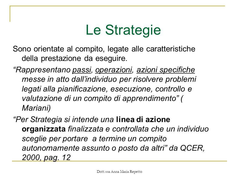 Dott.ssa Anna Maria Repetto Sono orientate al compito, legate alle caratteristiche della prestazione da eseguire. Rappresentano passi, operazioni, azi