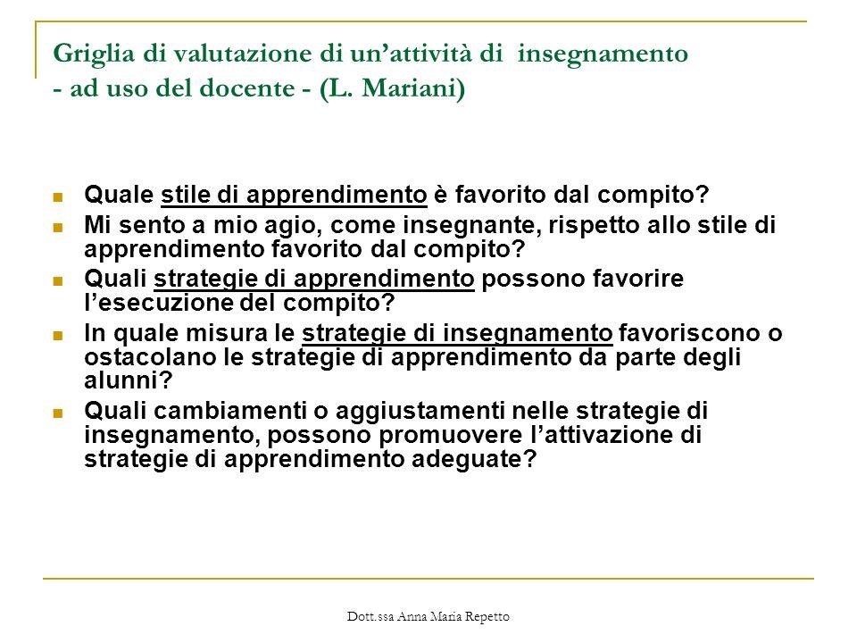 Dott.ssa Anna Maria Repetto Griglia di valutazione di unattività di insegnamento - ad uso del docente - (L. Mariani) Quale stile di apprendimento è fa