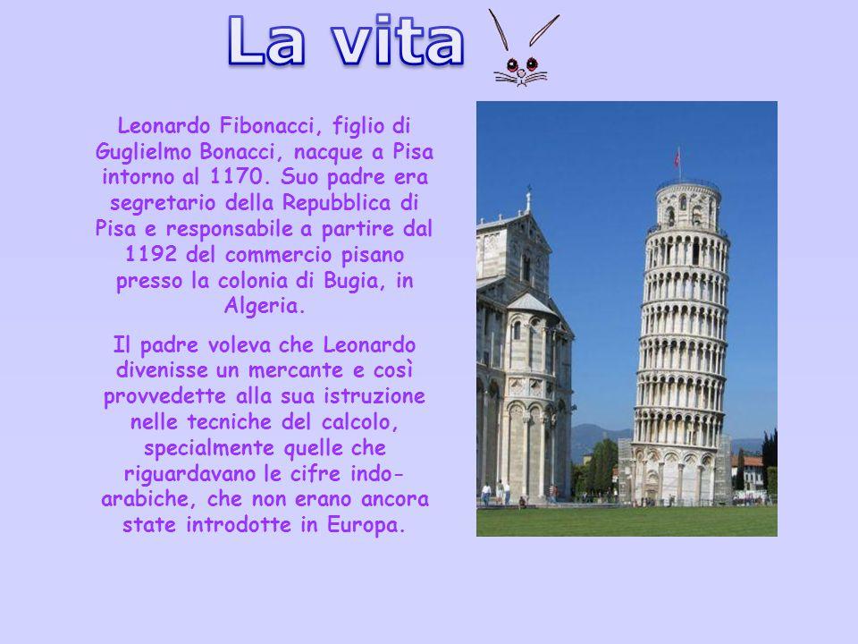 La sua vita Leonardo Fibonacci, figlio di Guglielmo Bonacci, nacque a Pisa intorno al 1170. Suo padre era segretario della Repubblica di Pisa e respon