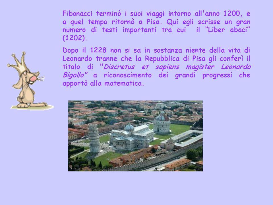 Fibonacci terminò i suoi viaggi intorno all'anno 1200, e a quel tempo ritornò a Pisa. Qui egli scrisse un gran numero di testi importanti tra cui il L