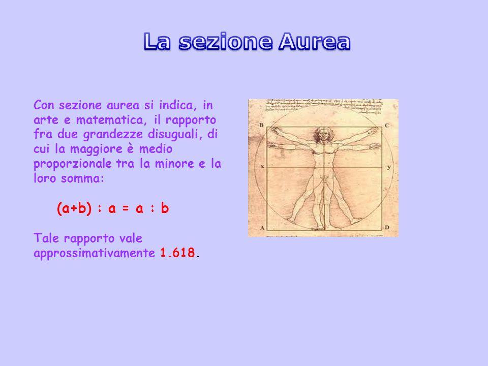 Con sezione aurea si indica, in arte e matematica, il rapporto fra due grandezze disuguali, di cui la maggiore è medio proporzionale tra la minore e l