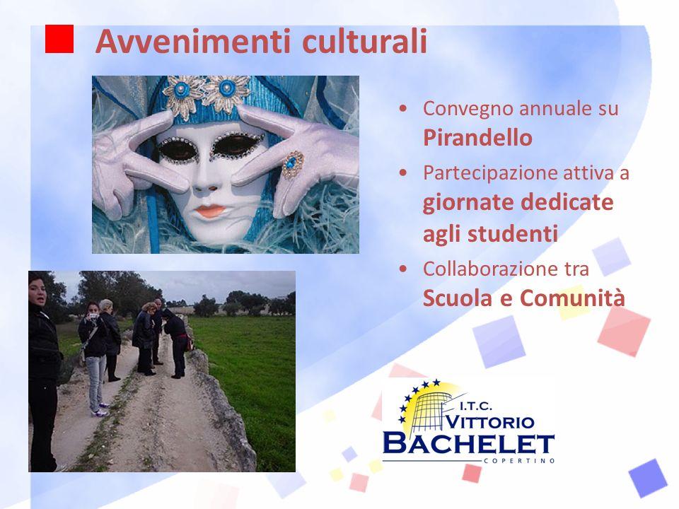 Avvenimenti culturali Convegno annuale su Pirandello Partecipazione attiva a giornate dedicate agli studenti Collaborazione tra Scuola e Comunità