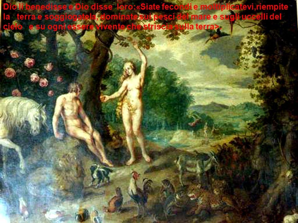 Dio li benedisse e Dio disse loro:«Siate fecondi e moltiplicatevi,riempite la terra e soggiogatela, dominate sui pesci del mare e sugli uccelli del ci