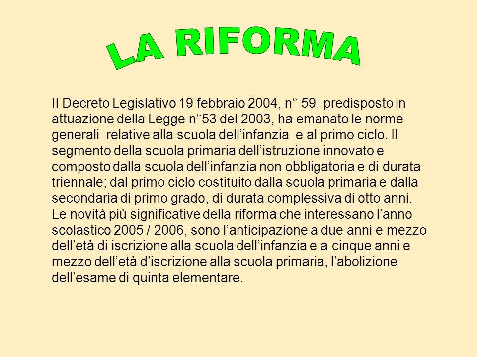 Il Decreto Legislativo 19 febbraio 2004, n° 59, predisposto in attuazione della Legge n°53 del 2003, ha emanato le norme generali relative alla scuola