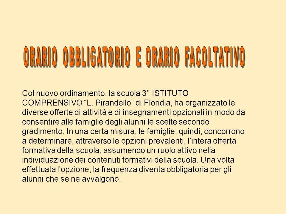 Col nuovo ordinamento, la scuola 3° ISTITUTO COMPRENSIVO L. Pirandello di Floridia, ha organizzato le diverse offerte di attività e di insegnamenti op