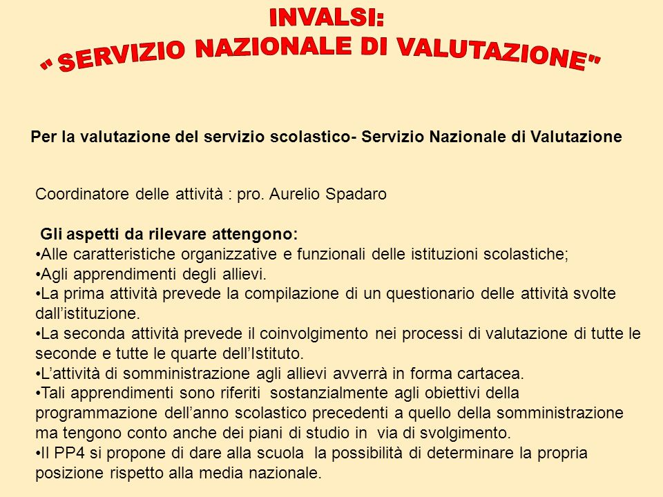 Per la valutazione del servizio scolastico- Servizio Nazionale di Valutazione Coordinatore delle attività : pro. Aurelio Spadaro Gli aspetti da rileva